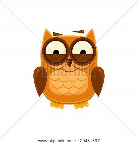 Giggly Brown Owl Adorable Emoji Flat Vector Caroon Style Isolated Icon
