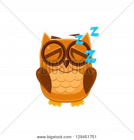 Sleeping Brown Owl Adorable Emoji Flat Vector Caroon Style Isolated Icon