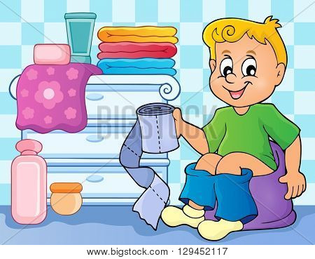 Boy on potty theme image 2 - eps10 vector illustration.
