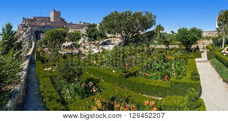Almourol, Portugal - July 24, 2015: Marvao Castle located on top of a cliff with a view over the garden decorated with box-hedge. Marvao, Portalegre District, Alto Alentejo Region, Portugal.
