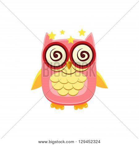 Dizzy Pink Owl Adorable Emoji Flat Vector Caroon Style Isolated Icon