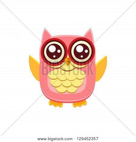 Pink Owl Wants A Hug Adorable Emoji Flat Vector Caroon Style Isolated Icon