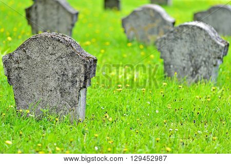 Unmarked gravestone of a soldier in a heroes graveyard