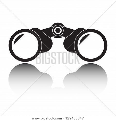 Binocular icon with reflection or shadow isolated on white background. Vector illustration.