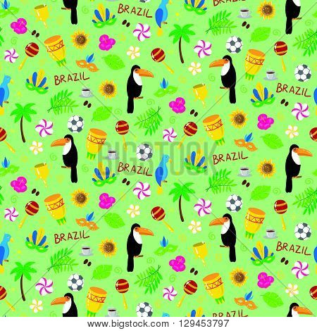 Seamless Pattern With Brazilian Elements