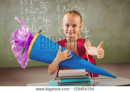 Schoolchild having her first day at school