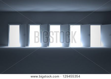 Digital composite image of open doors