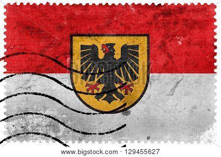 Flag of Dortmund old postage stamp, vintage look