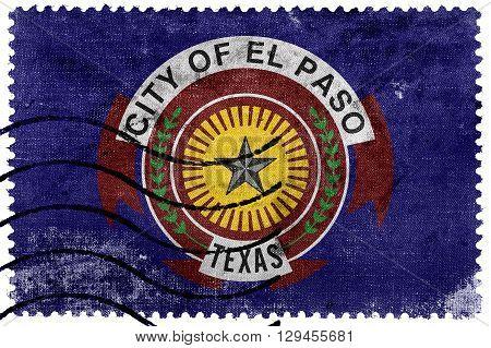 Flag Of El Paso, Texas, Old Postage Stamp