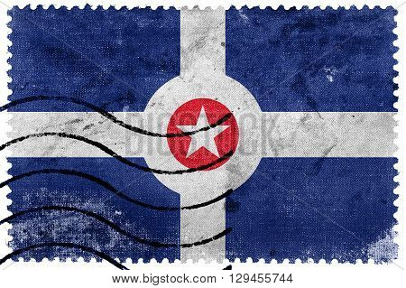 Flag Of Indianapolis, Indiana, Old Postage Stamp