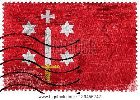 Flag of Haarlem old postage stamp, vintage look