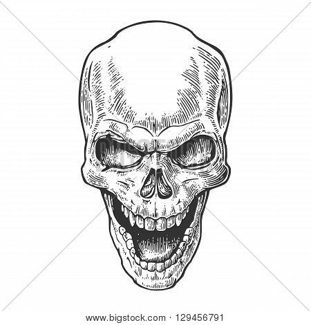 Skull human with a smile. Black vintage vector illustration. For poster and tattoo biker club. Hand drawn design element isolated on white background