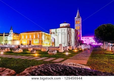 Zadar, Croatia - July 28, 2015: Church Of St. Donat, A Monumental Building From The 9Th Century Lit