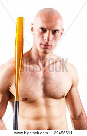 Violence and aggression concept - furious screaming angry man hand holding baseball sport bat without t-shirt