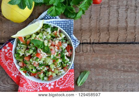 Eastern salad tabbouleh with bulgur mint and parsley