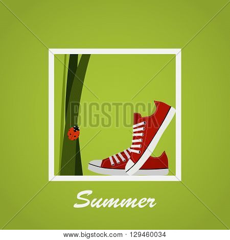 Red Sneakers shoes, grass, ladybug. Gumshoes. Summer. Lettering. Background.