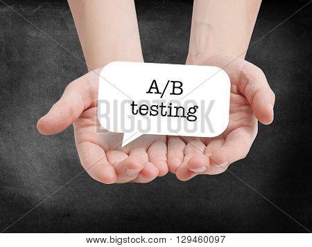 A/B testing written on a speechbubble