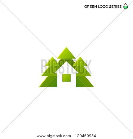 Green house logo. Eco house vector illustration. Logo for house building green house real estate company.