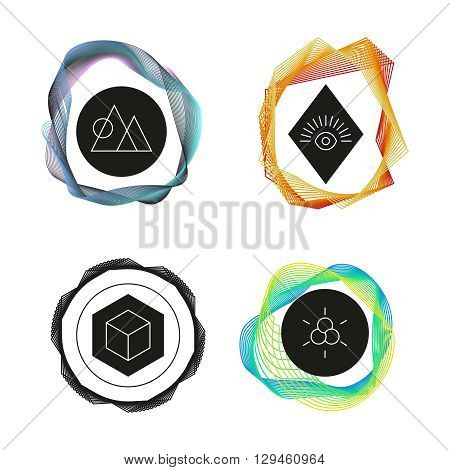Vector abstract logo. Geometric symbols. Circle with eye. Multicolored. Outline logo. Design template. Geometric logo. Abstract logo. Vector design logo. Abstract logo