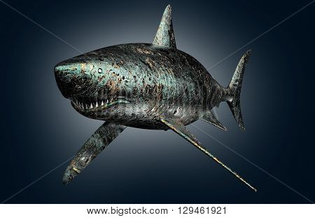 Digital Safety Concept Electronic Computer Shark Isolated