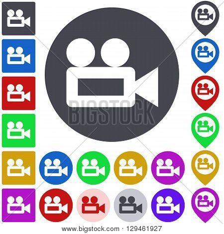 Color video camera icon, button, symbol set. Square, circle and pin versions.
