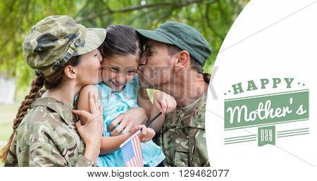 Army parents kissing daughter against mothers day greeting