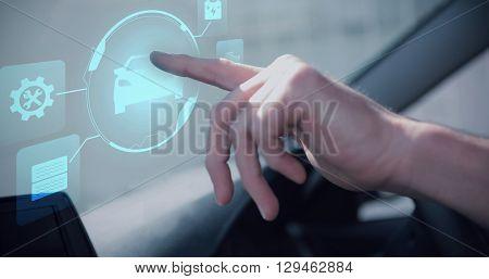 Car against man using satellite navigation system