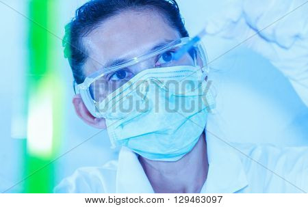 Scientist With Equipment Laboratory For Science Concept And Selective Focus.