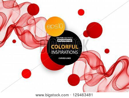 Abstract smooth color wave vector. Curve flow red motion illustration. Abstract vector background, red transparent waved lines for brochure, website, flyer design.  Red smoke wave. Red wavy background