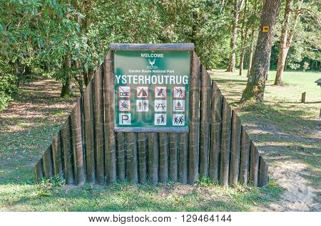KNYSNA SOUTH AFRICA - MARCH 5 2016: Information board at the Ysterhoutrug picnic spot in the Knysna Forest. The Elephant Hiking Trail passes through here