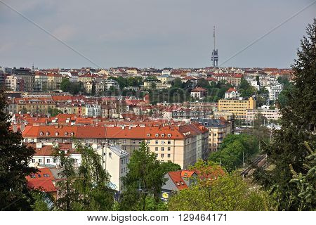 Prague, Czech Republic - May 3rd, 2016: Aerial view at the Zizkov TV Tower in Prague (Czech Republic) from the district Vysehrad.