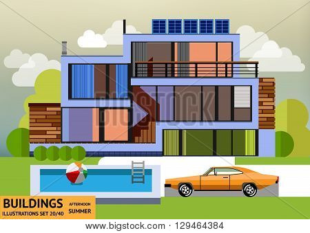 Building with a swimming pool and a orange car in a flat style
