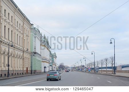 Cityscape with the image of St. Petersburg, Russia