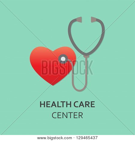 Stethoscope and heart symbol. Design element for medicine, cardiology and health care center. Colorful vector illustration.