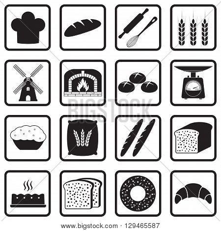 Bakery and bread icons set isolated on white background. Vector illustration.
