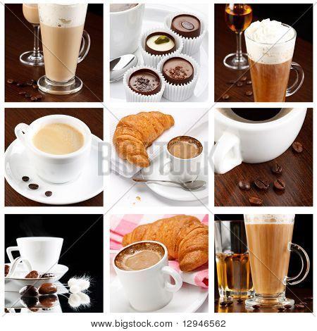 set of coffee drinks