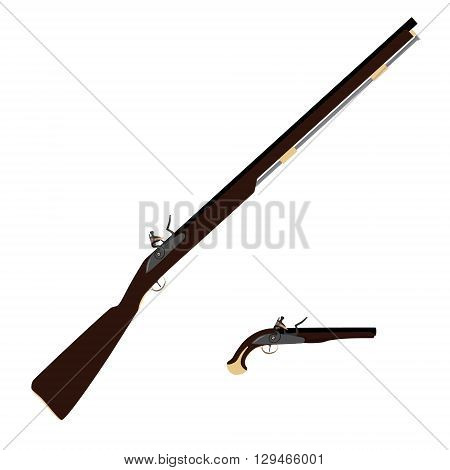 Vector illustration of old fashioned rifles and vintage musket gun Muskets or flintlock gun.