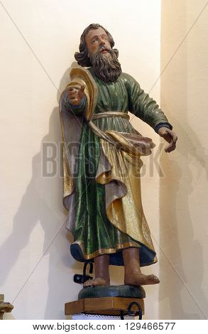 VUGROVEC, CROATIA - MAY 07: Saint Paul the Apostle, statue in the Church of Saint Francis Xavier in Vugrovec, Croatia on May 07, 2014