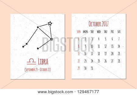 Vector calendar for 2017 in the zodiac style. Calendar for the month October with the image of the Libra constellation on beige scratched background. Elements for design ideas of your calendar