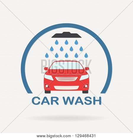 Car wash icon or label with auto shower and water drops. Colorful vector illustration of washing vehicle symbol in flat design.