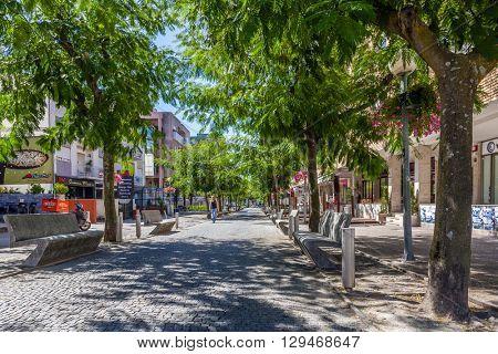 Vila Nova de Famalicao, Portugal. September 06, 2015: Luis de Camoes Street in Vila Nova de Famalicao where the IEFP (Instituto do Emprego e Formacao Profissional) is located.