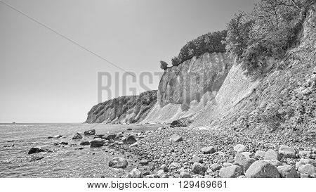 Black And White Picture Of Chalk Cliffs On The Ruegen Island.