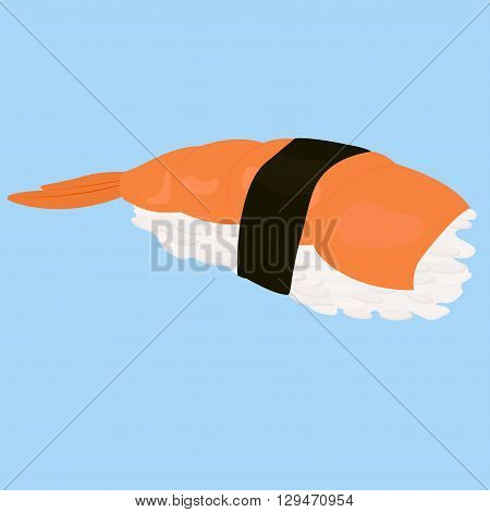 Shrimp sushi, japanese food. Cartoon style icon. Sushi icon. Sushi cartoon. Hand draw style. Sushi vector isolated. Sushi with shrimp, vector icon