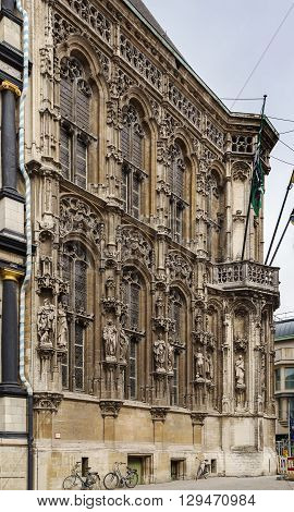The flamboyant Gothic style of the facade of Ghent town hall Belgium