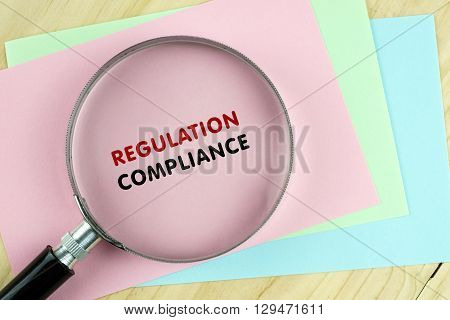 Word Regulation Compliance On Colored Paper With Magnifying Glass.