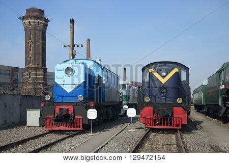 SAINT PETERSBURG, RUSSIA - MARCH 30, 2016: Two locomotives of the Oktyabrskaya railway. Historical landmark of the city Saint Petersburg
