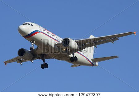 SAINT PETERSBURG, RUSSIA - MARCH 20, 2016: The Airbus A319-111 (EI-ETN) of airline