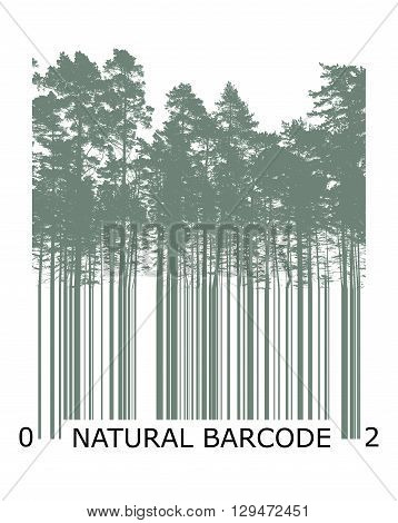 Natural Product Bar Code Concept With Trees