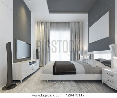 Luxurious bedroom with a large window to the floor in a Contemporary style. Gray inlays on the ceiling and on the wall. On the wall of media system with TV and mockup poster. 3D render.