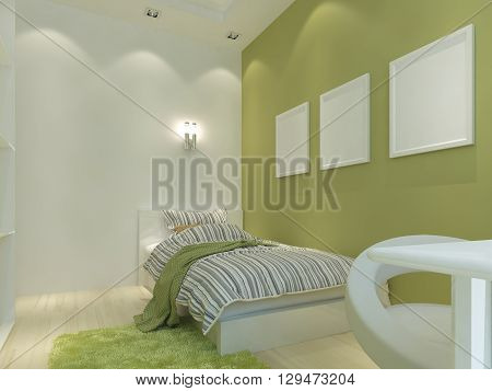 Modern children's room with false ceiling and spotlights. Children with a comfortable bed for a teenager. 3D render.